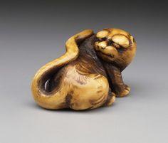 Tiger netsuke. Alternate Title: 虎 Unshō Hakuryū (Japan, active 1854-1859) Japan, mid-19th century