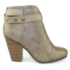 Gail-22 Beige Chunky Heel Faux Leather Ankle Booties- For Just One Dollar!!! One dollar!! At Traffic Shoes Yes were are crazy!! While they last!!!!