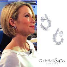 @ajrobach wearing our illuminating 18k statement waterfall earrings on @goodmorningamerica! (Style #: EG13257) #GMA #GabrielNY #diamonds #fashion