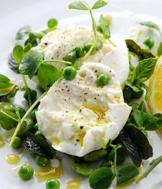 This simple mozzarella salad from Robert Thompson features buffalo mozzarella, fresh peas and broad beans. The mint and lemon add further freshness .