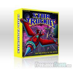 Illustration and design of scifi spaceship board game artwork