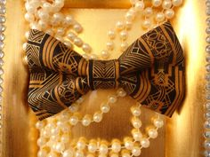 The Great Gatsby Pet Bow Tie : Roaring Twenties, Black and Gold, Art Deco by TheStevieStudio, $10.00