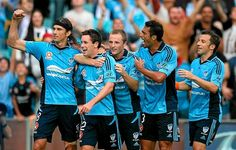 Blake Powell of Sydney FC is congratulated by team-mates after scoring during the A-League match between Sydney FC and Adelaide United. 16 Feb 2013.