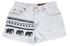 ripped aztec ethnic elephant shorts vintage.
