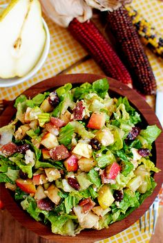 Pear and Apple Chopped Salad with bacon, dried cranberries and honey roasted peanuts