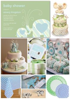 Inspiration Board: Elephant Baby Shower on the Tinyprints Blog