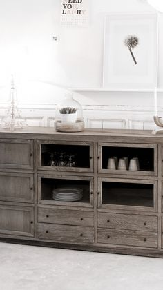 Solid oak 10 door sideboard in rustic style with 4 glass cabinets