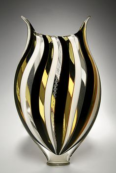 Black and White Foglio by David Patchen: Art Glass Vessel available at www.artfulhome.com