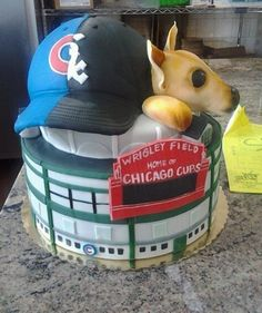 Chicago Baseball Themed Wedding Cake