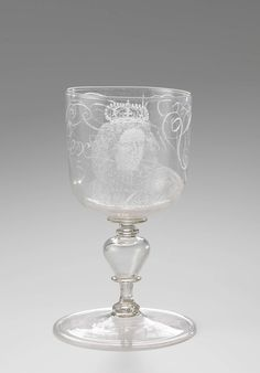 Lidded goblet with a portrait of King William III, anoniem, in or after 1690 - c. 1700