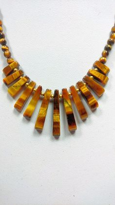 Tiger Eye Fan NecklaceWould make the perfect valentines day gift Valentine Day Gifts, Valentines, Tigers Eye Necklace, Tiger Eye Beads, Solar Plexus Chakra, Carat Gold, Craft Work, Plexus Products, Gold Accents