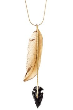 Serefina arrowhead +feather necklace #jewelry I would wear this almost everyday