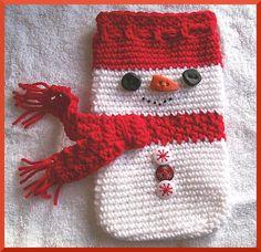 Crochet Pattern Christmas Gift Bag Snowman by CrochetSal on Etsy, $2.25