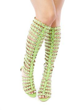 330de1dc9 Green Rhinestone Gladiator Peep Toe Single Sole High Heel Faux Suede