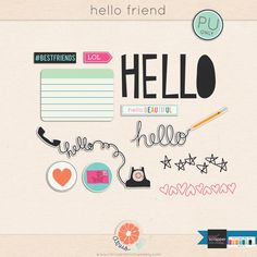 Hello Friend element pack freebie from Citrus and Mint Life Journal, Journal Cards, Digital Scrapbook Paper, Digital Papers, Scrapbooking Freebies, Planner Sheets, Smash Book, Diy Craft Projects, Project Life
