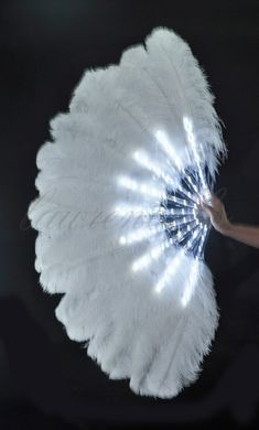 Burlesque Dance White Glittery LED Shine Bushy Double Ostrich Feather Fan Burlesque op Etsy, 183,54 €