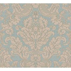 On Sale Today! Agnese Blue 2537-M3953 Embossed Damask Wallpaper is prepasted and has 25 inches pattern repeat. Available at InteriorPlace.com.