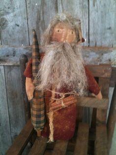 Primitive Santa father Christmas make do Flax Tree doll makedo Make Do #NaivePrimitive
