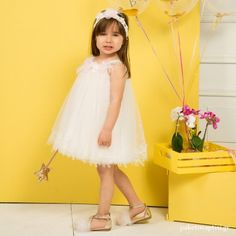Βαπτιστικό Φόρεμα Λευκό Mi Chiamo K4299 Girls Dresses, Flower Girl Dresses, Christening, Girl Outfits, Tulle, Wedding Dresses, Skirts, Clothes, Fashion