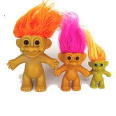 1980s toys. Trolls. Troll dolls. Russ. Vintage trolls. Vintage Russ. Russ berrie. Purple hair. Orange hair. Lot of three naked troll dolls. ($12) found on Polyvore