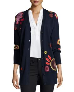 Burberry Brit Floral-Embellished Wool V-Neck Cardigan