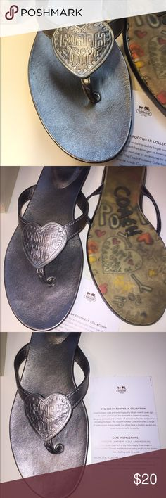 Coach Sophie metallic kid size 10 flip flop! Coach gunmetal metallic flip flops size 10 bought at Dillard's on sale! Only wore once and in great shape! Coach Shoes Sandals