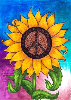 This sunflower peace sign is another classic No Paradigm Designs logo!  www.noparadigmdesigns.com