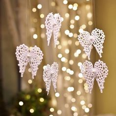 Сhristmas snowflakes crochet snowflakes set of 6 Xmas di NLovely Christmas tree decoration with eight different patterns. Crochet Christmas Decorations, Crochet Decoration, Crochet Ornaments, Beaded Ornaments, Handmade Ornaments, Christmas Wreaths, Christmas Crafts, Crochet Snowflake Pattern, Christmas Crochet Patterns