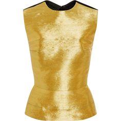 Oscar de la Renta Metallic Threadwork Top ($2,990) ❤ liked on Polyvore featuring tops, gold, beige top, crew neck top, gold metallic top, gold sleeveless top and gold peplum top