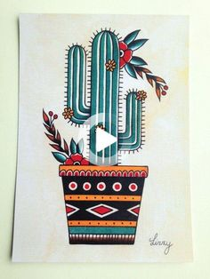 Cactus tattoo flash print Original painted by me  Printed on 250gsm paper A5 (14 x 21 cm) Thanks for looking #drawing #drawingideas Cactus Drawing, Cactus Painting, Cactus Art, Cactus Plants, Cactus Doodle, Mini Cactus, Cactus Flower, Back Piece Tattoo, Pieces Tattoo