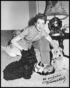 Deborah Kerr with dogs and Siamese cat......Uploaded By www.1stand2ndtimearound.etsy.com
