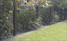Image result for black pool fence with timber posts