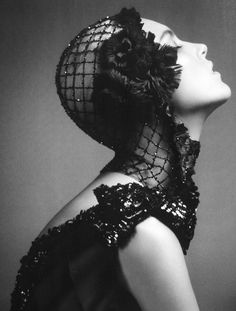 Anja Rubik in 'Dark Feast'   Photographer: Lachlan Bailey   Dress and headpiece: Chanel Haute Couture F/W 2007/08   Vogue China October 2007