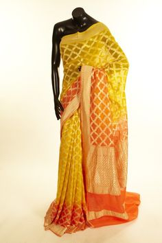 Khari Georgette- georgette baby yellow saree with blouse