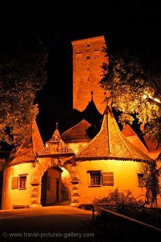 Rothenburg ~ Middle Franconia ~ Bavaria ~ Germany ~ Castle gates at night.