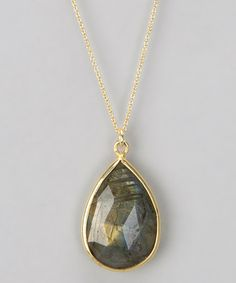 Take a look at this Gray Labradorite Pear Pendant Necklace by Liv Oliver on #zulily today!