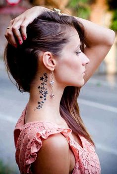 Star Tattoo Design near Neck and Ears
