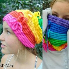 Convertible rainbow cowl hat #crochet pattern for sale from ACCROchet