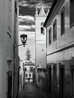 Narrow Street And Bell Tower In Tavira - Portugal Print by Barry O Carroll Black And White Photography, Fine Art America, Portugal, Tower, Street, Prints, Black White Photography, Lathe, Towers