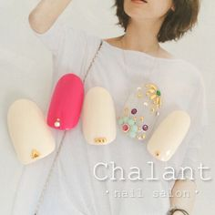 「#chalant#シャラン#吉祥寺#ネイルサロン#nail#nails#art#gel#ネイル#ジェル#吉祥寺ネイルサロン#ホワイト#ホワイトネイル#ピンク#ピンクネイル#ボヘミアン#ボヘミアンネイル#スタッズ#ビジュー#夏ネイル」