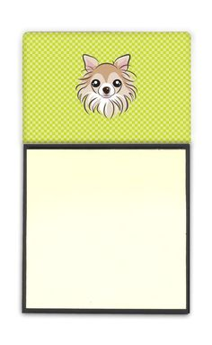 Lime Green Chihuahua Refiillable Sticky Note Holder or Postit Note Dispenser