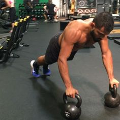"""1,148 Likes, 34 Comments - Eric Leija (@primal.swoledier) on Instagram: """"Try out this double kettlebell finisher! 6 rounds, 3 drop push ups, 3 squat press with a 3 count in…"""""""