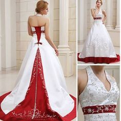 Ball-Gown Halter Court Train Satin Wedding Dress With Embroidery Beadwork Sequins #ShopSimple