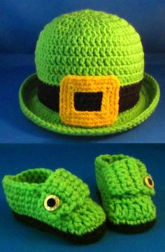 Saint Patricks Day Leprechaun Derby Hat and Booties Set for Baby | HatsandSpats - Crochet on ArtFire