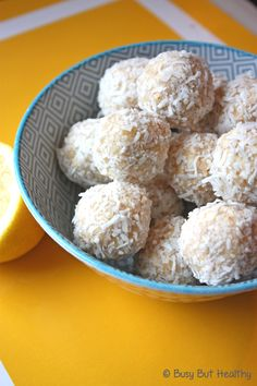 Lemon Bliss Balls - no-bake and only 79 calories each. Super yummy snack!