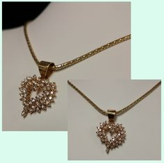 14K Gold Heart 1ctw Diamond Necklace 6.9g #gold #chain #necklace #heart #pendant #diamond