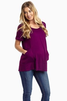 Soon to be your favorite maternity top, this basic featuring a draped pocket front is our absolute go-to with every single look this season because its versatility allows you to mix and match with it all.