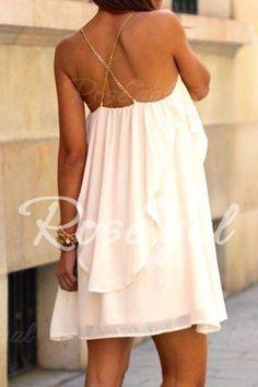 Loose Fitting White Chiffon Dress
