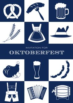 "Oktoberfest ""Oktoberfest essentials"" Use this fun bavarian style Oktoberfest card to invite your guests to your beer festival. Send online or order paper cards."