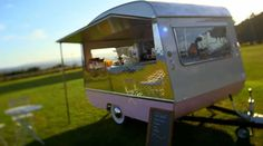 As seen on George Clark's Amazing Spaces: converted caravan into Ice Cream parlour/cake bar on wheels.